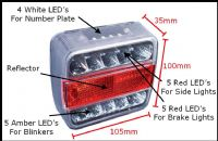 Pack Of 10 Rear LED Trailer Lights